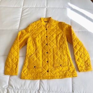 J McLaughlin yellow quilted silk jacket